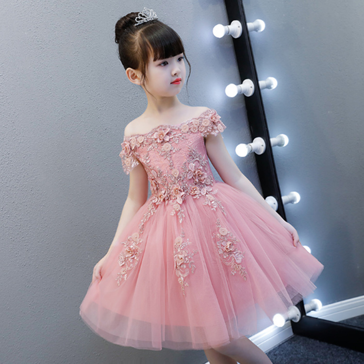 Princess Dress Girls Birthday Evening Gown Children Wedding Dress Puffy Yarn Nobility Kids Baby Flower Boys/Flower Girls Piano C
