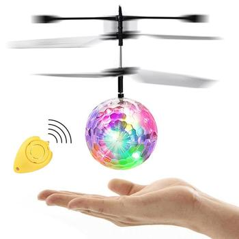 цена на Led Glowing Flying Ball Kids Mini IR Sensing RC Helicopter Aircraft Flying Ball Toys Built-in LED Light With Remote Control gift