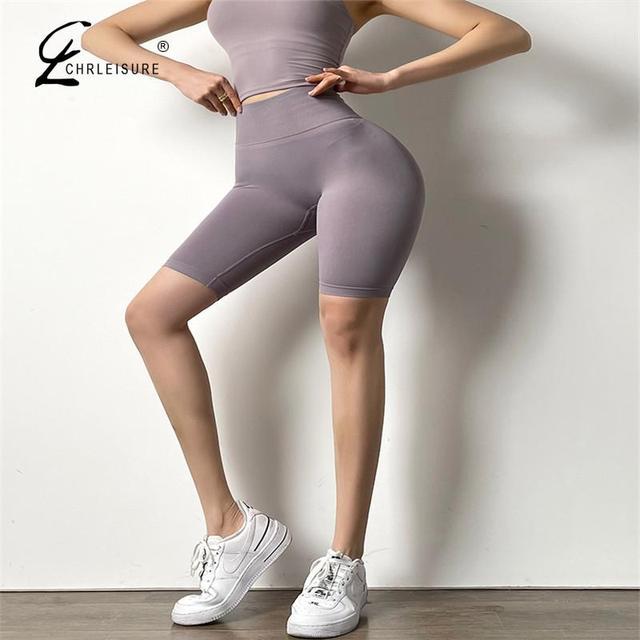 CHRLEISURE Summer Women Shorts Fitness High Waist Short Seamless Push Up Sporty Shorts Female Slim Workout Gym Biker Shorts 5
