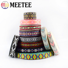 8Meters 25mm Polyester Jacquard Webbings Ethnic Lace Ribbons For Bag Strap Sewing Tape Bias Binding DIY Garment Accessories