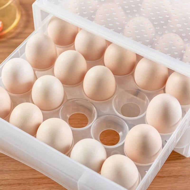 Tipo gaveta do agregado familiar caixa de ovo 60 grade cozinha de grande capacidade dupla caixa de armazenamento fresco à prova de poeira anti-colisão economizar espaço