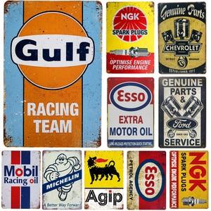 Винтажные металлические оловянные знаки, бензиновый двигатель, масло, гаражное обслуживание, Настенный декор, художественный плакат, насте...