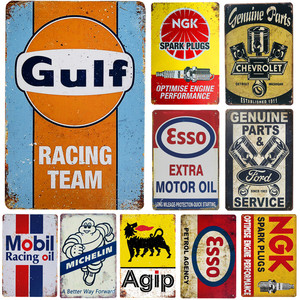 Vintage Gulf Metal Tin Signs Gasoline Motor Oil Garage Service Wall Decor Art Poster Wall Plaque