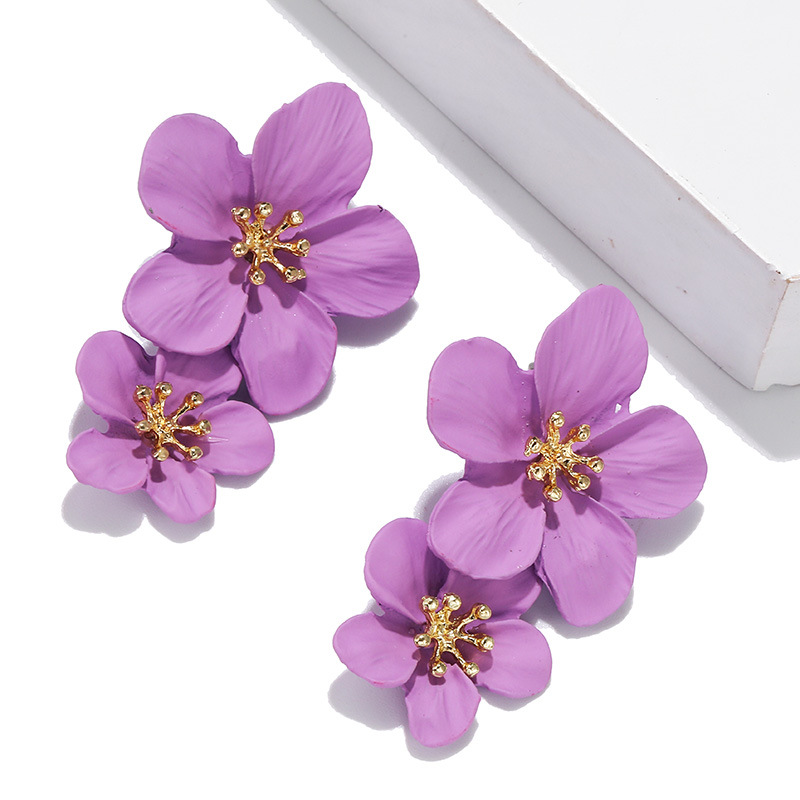 Red Flower Earrings For Women 2019 Double Layers Statement Hanging Pendientes Dangling Fashion Jewelry Yellow Earrings Bijoux Bo