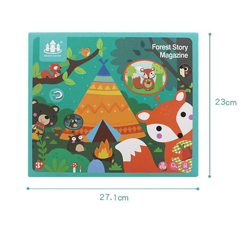 Montessori детские игрушки магнит Животные Пособия по биологии наклейки доска материалы Montessori Магнитный 3D Пазлы детские игровые коврики детские сенсорные игрушки