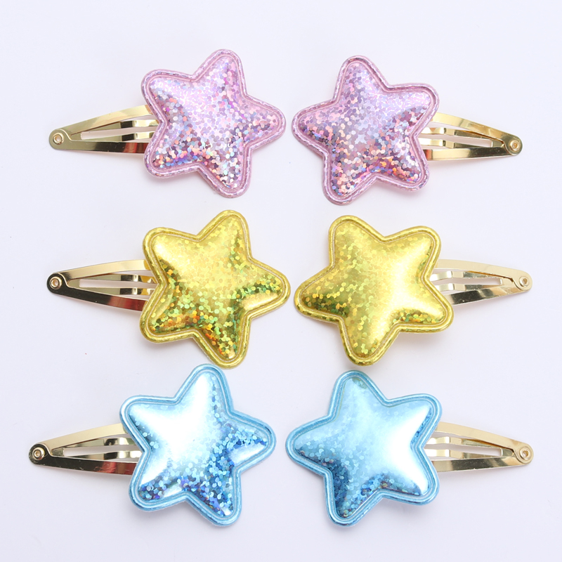 6 Pieces New PU Girls Hair Accessories Hair Clips Children Glitter Hairpins Shinny Kids Hair Barrettes
