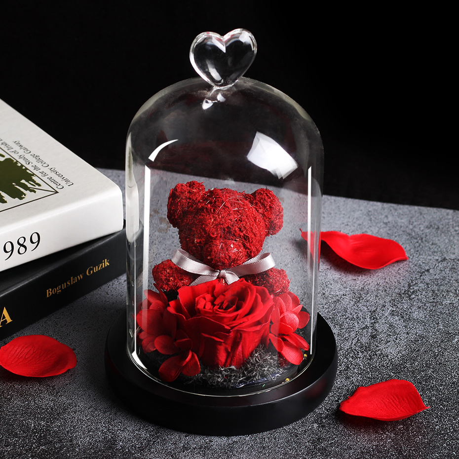 Mother Day Gift Dried Flowers The Beauty And Beast Eternal Real Rose Teddy Bear In Glass Dome With LED Home Decor Valentine Gift