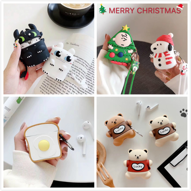 Earphone Case For Airpods Case Merry Christmas Cartoon Tree For Apple Air Pods 2 Cases Silicone Bear Headphone Cover For Earpods