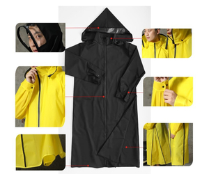 Image 5 - Gorąca sprzedaż EVA płaszcz przeciwdeszczowy kobiety/mężczyźni zamek z kapturem Poncho motocykl odzież przeciwdeszczowa długi styl piesze wycieczki Poncho środowiska kurtka przeciwdeszczowa