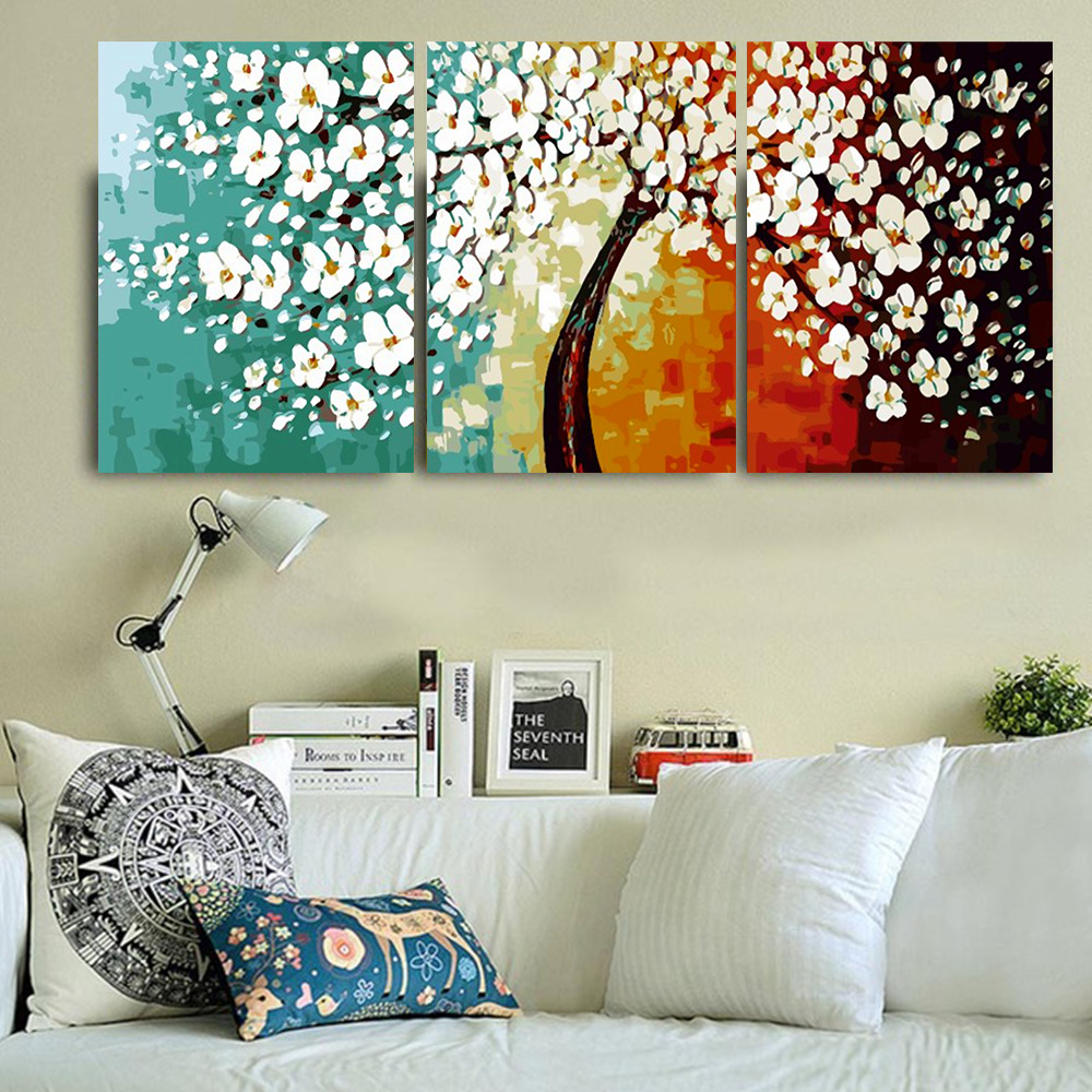 HUACAN DIY Oil Painting By Numbers Flowers HandPainted Kits Drawing Canvas Pictures Home Decoration Gift