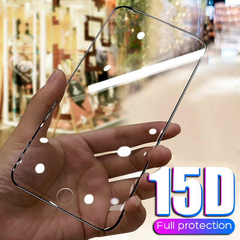 15D Protective Tempered Glass On The For IPhone 6 6s 7 8 Plus X 10 Glass Screen Protector Curved For IPhone XR XS 11 Pro MAX