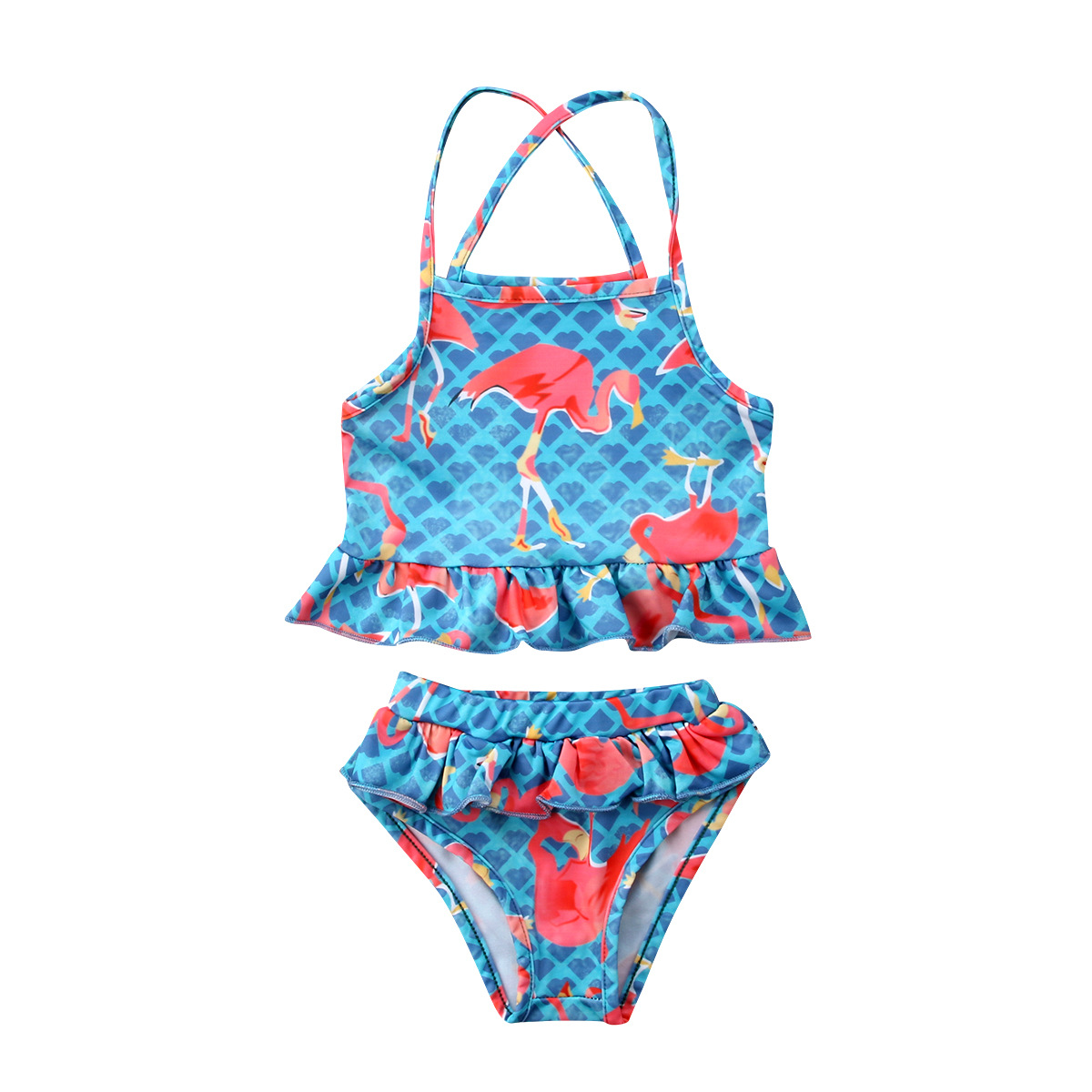 Summer New Style KID'S Swimwear Flamingo Printed Swimsuit Girls Swimsuit With Shoulder Straps Baby Bathing Suit 2 Pieces
