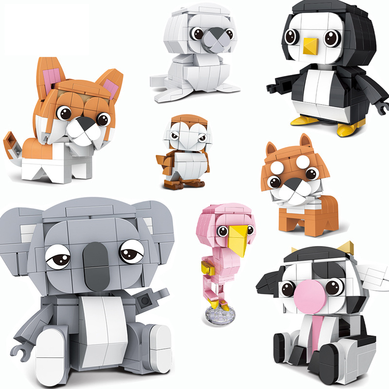 NEW ideas Animals Series cat dog penguin Koala Cow Flamingo Sea lion owl Building Blocks Model Sets Bricks Classic Movie Toys(China)