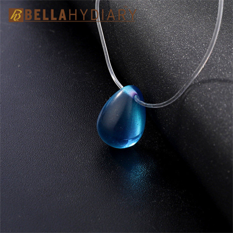 Colorful Water Drop Rhinestone Choker Necklaces Transparent Fishing Line Necklace Invisible Chain Necklaces Pendants Collier (2)