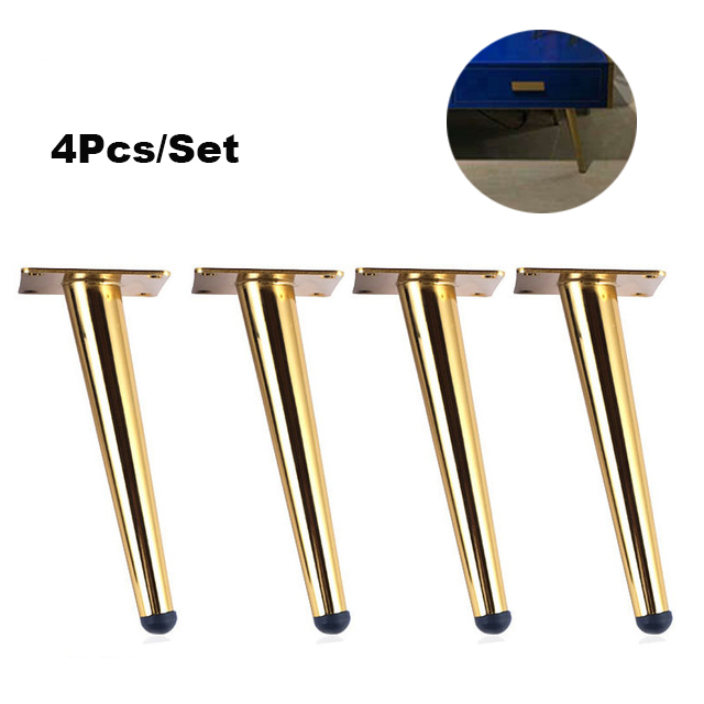 4 Pieces Of Metal Furniture Feet 20cm, Table, Cabinet Feet, Sofa Bed, TV Cabinet Feet With Mounting Screws, Gold Tilt Feet