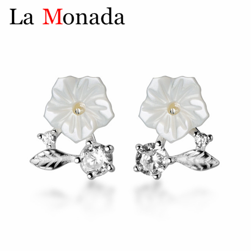 Shiny Solid 925 Sterling Silver Cute Small Tree Stud Earrings Gift Bag