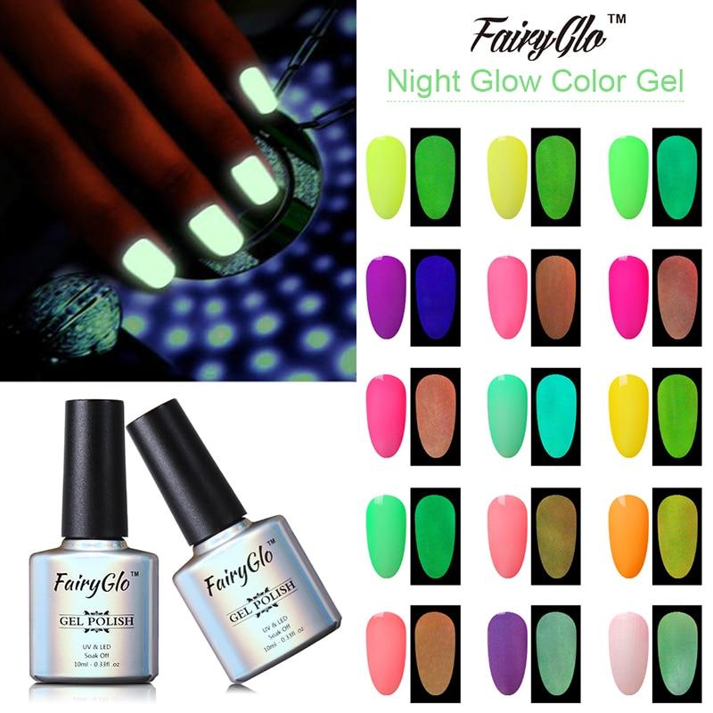 FairyGlo 10ML UV Gel Night Glow In The Dark Fluorescent Nail Polish Soak Off Gel Polish Semi Permanent Luminous Paint Varnish