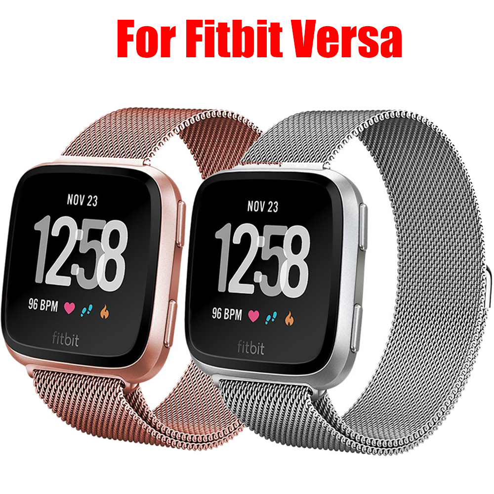 Watch Bands For Fitbit Versa Bands For Women Men Milanese Loop Steel Metal Replacement Bracelet Strap For Fitbit Versa 2