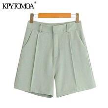 KPYTOMOA-Pantalones Cortos rectos con bolsillos laterales para mujer, pantalón corto Vintage de cintura alta con cremallera, a la moda, 2020