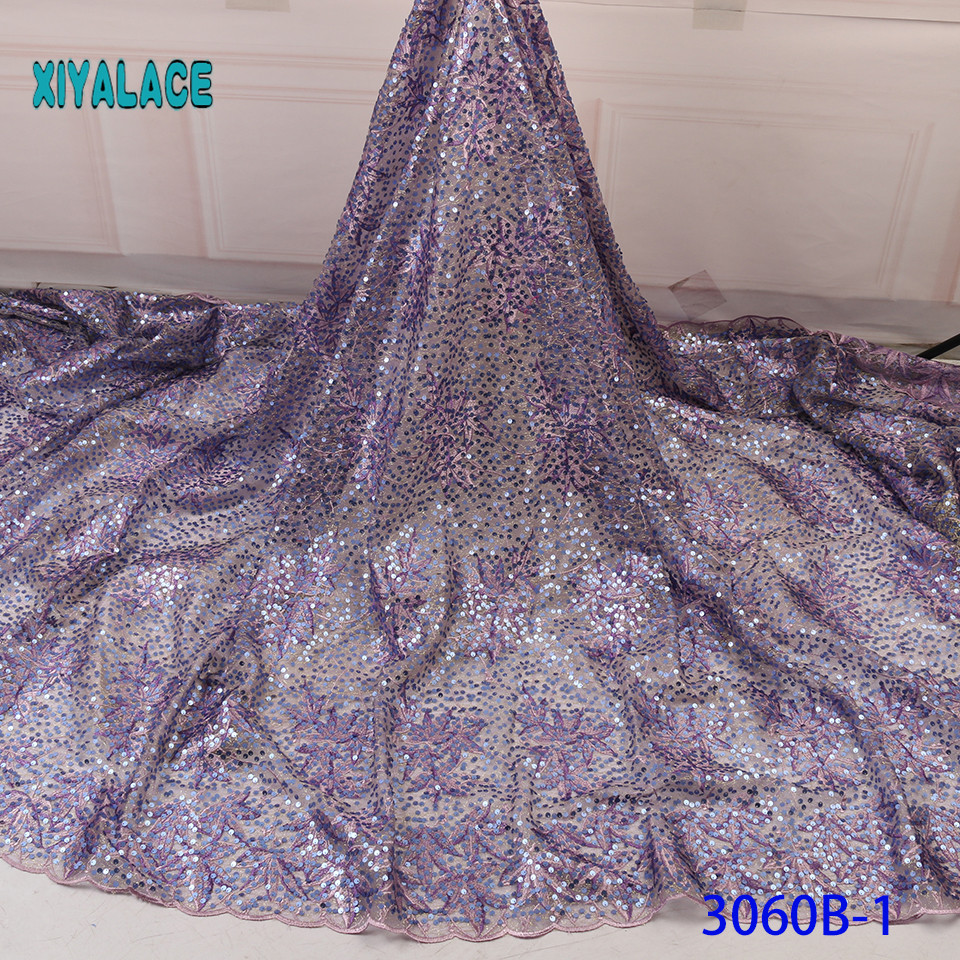 3D Laces 2019 High Quality Nigerian Lace Fabric 2018 Embroidery French Tulle Lace With Sequins For Bridal YA3060B-1
