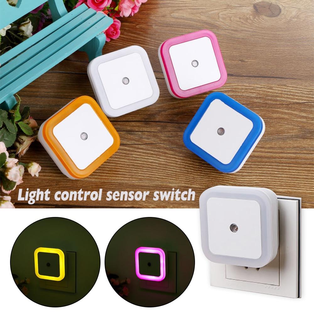 1PC Light Sensor Control Night Light Mini EU US Plug Novelty Square Bedroom Lamp For Baby Gift Romantic Colorful Lights