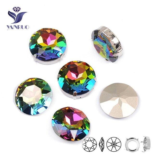 YANRUO 1201 Rivoli 27mm cristal Vitrail medio piedras para coser diamante redondo punto atrás diamantes DIY manualidades para ropa