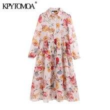 KPYTOMOA-vestido Midi de gasa con estampado Floral para Mujer, conjunto Vintage de dos piezas, transparente