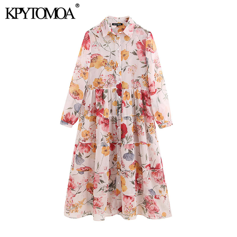 KPYTOMOA Women Fashion Floral Print Chiffon Midi Shirt Dress Vintage Two Pieces Sets See Through Female Dresses Vestidos Mujer