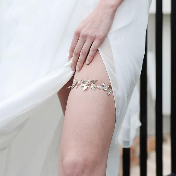 Bridal Garter Pearl Leg Ring Gold Sexy Garters Leaf Leaves Thigh Ring With Ribbon For Women Bride Accessories Wedding Jewelry