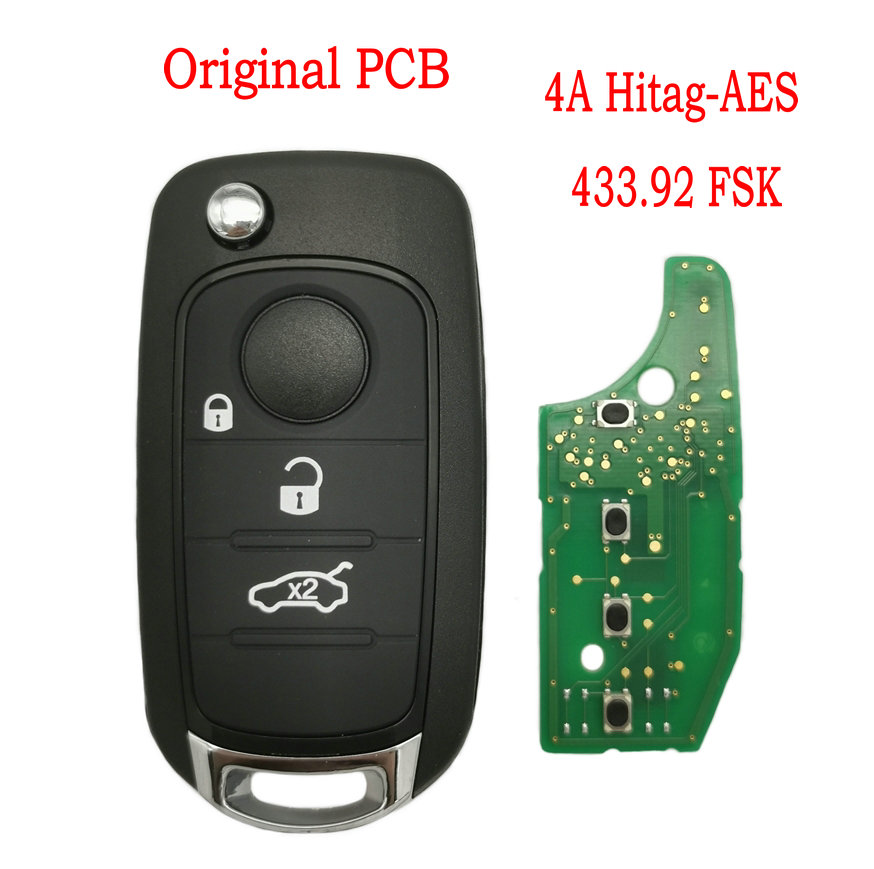 Автомобильный Дистанционный ключ Datong World для Fiat 500X Egea Tipo 2016-2018 433.92FSK 4A Hitag-AES Chip Use оригинальная фабрика PCB Flip Smart Key
