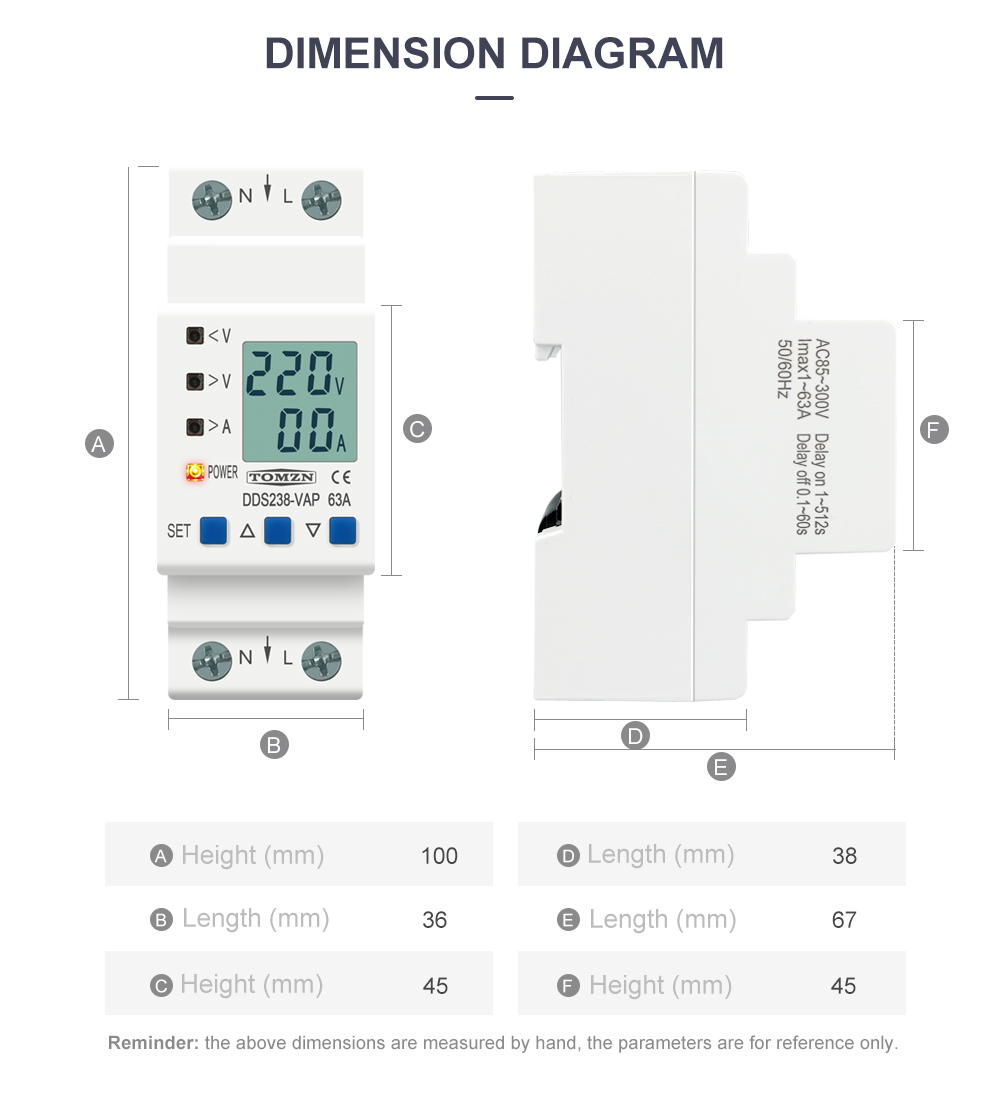 Hbe998c99f62840dcb7db41449c90d3e5n - 63A 80A 110V 230V Din rail adjustable over under voltage protective device current limit protection Voltmeter ammeter Kwh