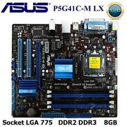 Socket LGA Asus P5G41C-M LX Desktop Motherboard G41 Socket LGA 775 Q8200 Q8300 DDR2 DDR3 8G uATX  BIOS Original Used Mainboard