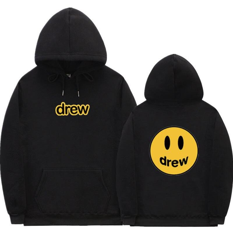 Streetwear Hoodie Men Justin Bieber The Drew House Smile Face Print Women Men Hoodies Sweatshirts Hip Hop Pullover Winter Fleece