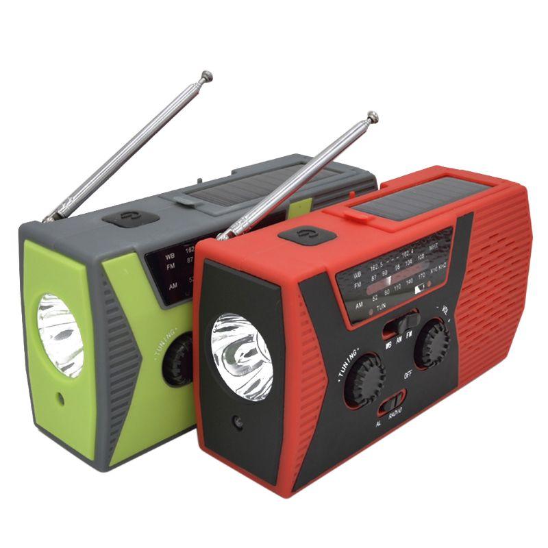 Emergency Solar Hand Crank Weather AM/FM/NOAA Radio SOS Power Bank LED USB Charger LED Flashlight
