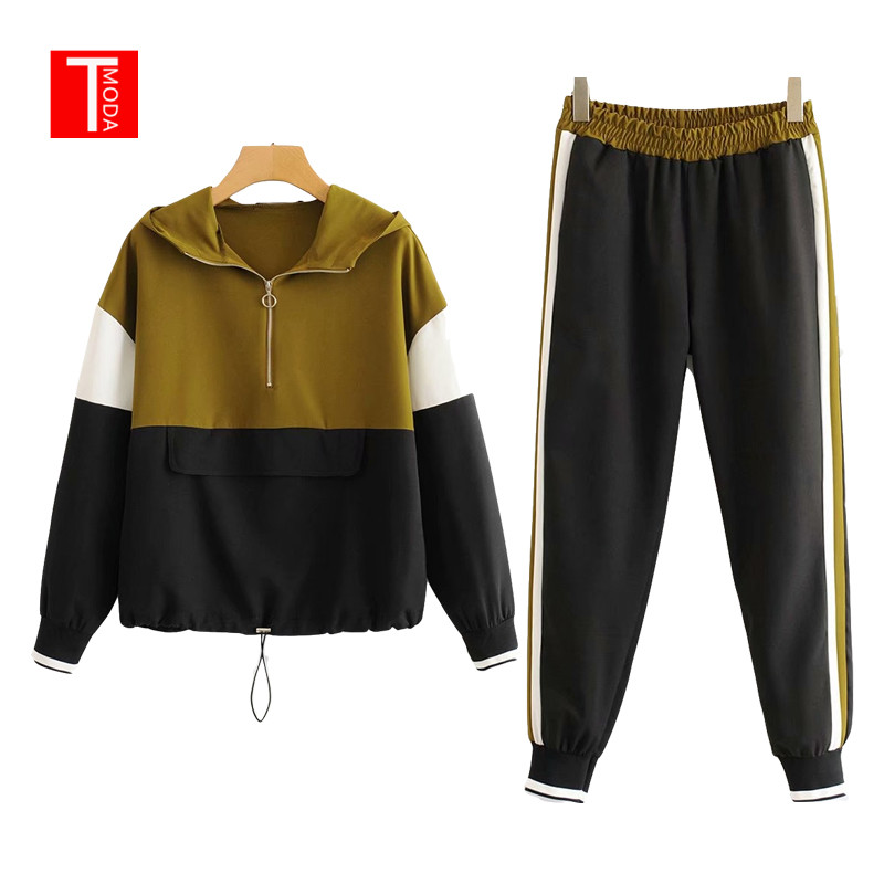 Set Female Brown Black Contrast Color Baseball Bomber Pullover Jacket Women Tops And Pencil Jogging Pants Suits Two Piece Sets