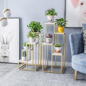 Nordic Metall Anlage Stand Indoor Eisen Blume Rack Kreative Marmor Garten Stehen Für Wohnzimmer Boden Blume Metall Regal Balkon