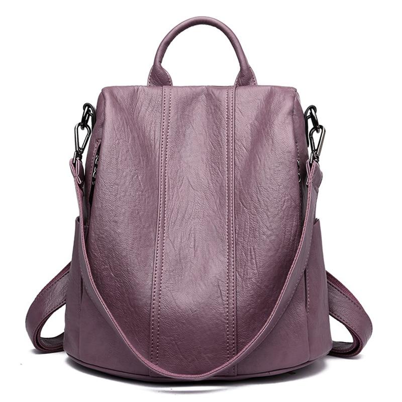 Bagpack Women Leather Backpack 2019 Waterproof Back Pack Large Capacity School Bags For Teenage Girls Anti-theft Travel Backpack