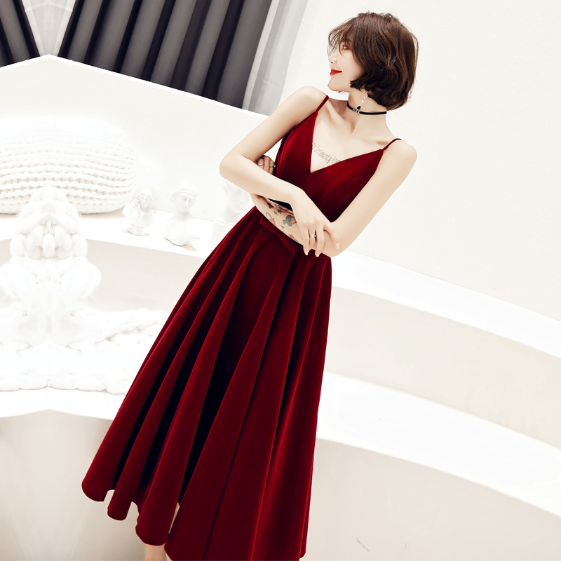 Dress For Toast Bride 2019 Marriage Autumn Back Door-Engagement Evening Dress Women's Nobility Camisole Slimming Modern