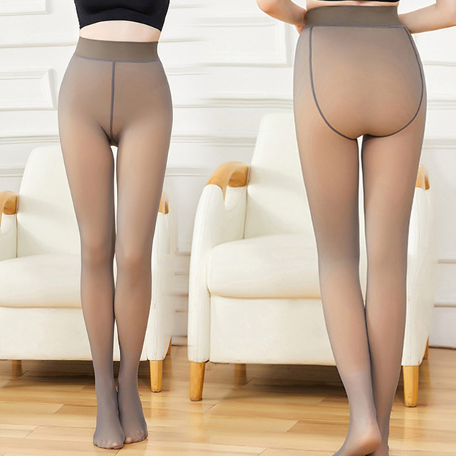 Leggings Women 2020 High Quality Legs Fake Translucent Warm Fleece Slim Stretchy For Winter Outdoor Women Ropa Mujer 1