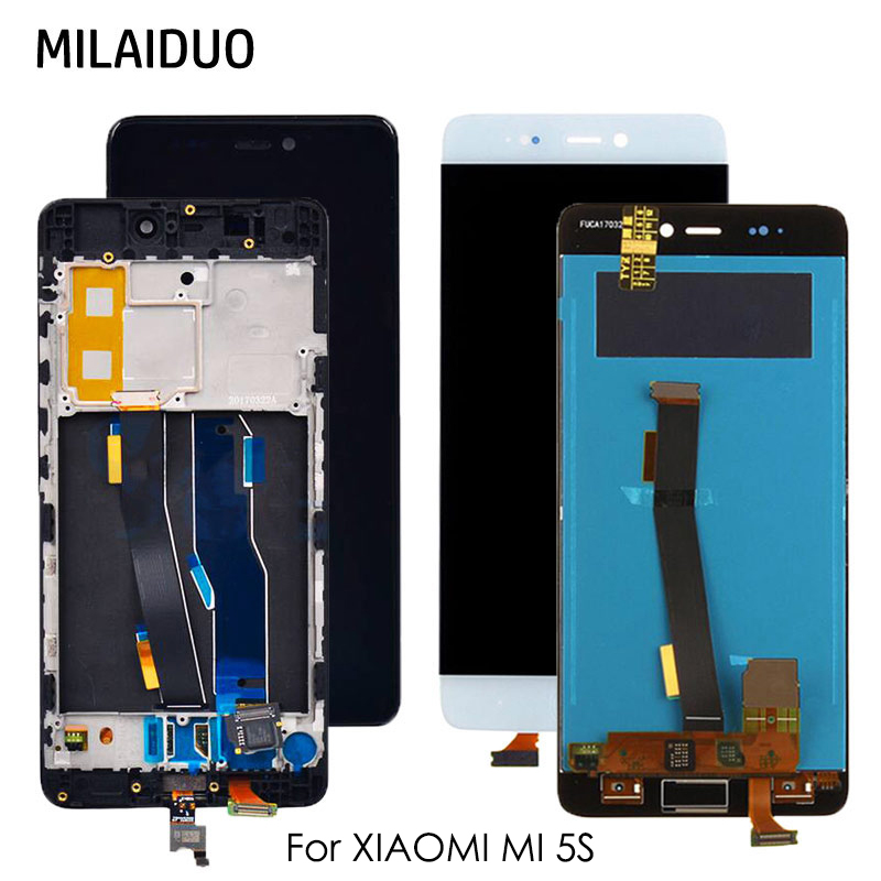 LCD Display For Xiaomi Mi 5S 5.15'' Touch Screen Digitizer Assembly Replacement Black White No/ With Frame with Fingerprint