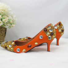 Ladies Shoes High-Pumps Orange Fashion Luxury Women Shallow Crystal Pointed-Toe Baoyafang