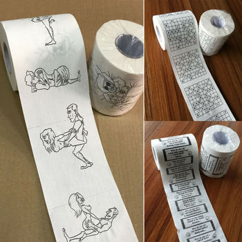 New Toilet Paper Bulk Rolls Bath Tissue Funny Printed Toilet Paper Bathroom White Soft 3 Ply Paper Funny Novelty Gift Creative donald trump toilet paper finger pointing set of 2 rolls novelty political humor prank funny toilet paper gag