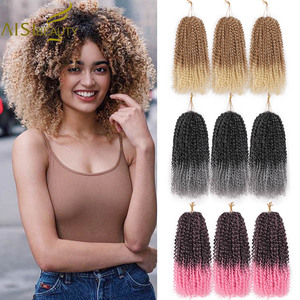 AISI BEAUTY 8inch 30g/pcs Marley Braids Ombre Crochet Braids Hair Synthetic Braiding Hair Extensions for Women Purple Black(China)