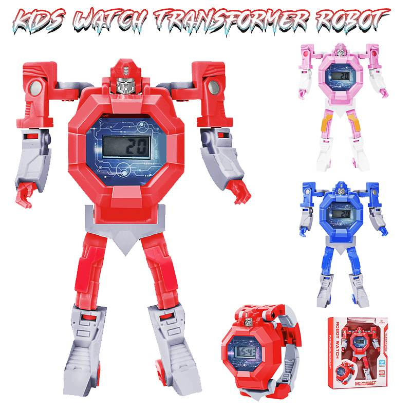 Robot Transformation Wristwatch Toy Mecha Robot Electronic Watch Children Sports Cartoon Watches Gifts For Kids Digital Time