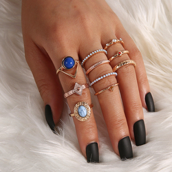 10 Pcs/Set Bohemian Stone Pendant Crystal Rings Set for Women Gems Geometry Gold Midi Kunckle Finger Jewelry Party Gifts 2020