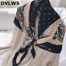цена на DVLWS 2020 South Korea Dongdaemun Dot Silk  Square Scarf Spring Summer New Style Cotton Linen Scarf Polka Dot Floral Patched