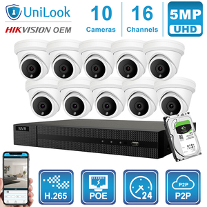 Image 3 - UniLook 16CH NVR 5MP Turret POE IP Camera 8/10/12/16PCS Outdoor Security Hikvision OEM ONVIF H.265 CCTV system NVR Kit With HDD