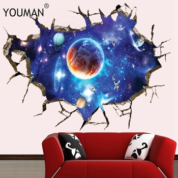 Wallpapers Youman Removable 3D Planet WallPaper Waterproof Vinyl Art Mural Decal Universe Stars Wall Sticker For Kids Room Decor welcome sign many languages wall sticker decal art vinyl mural office shop home wall decor welcome diy wallpaper removable bg07