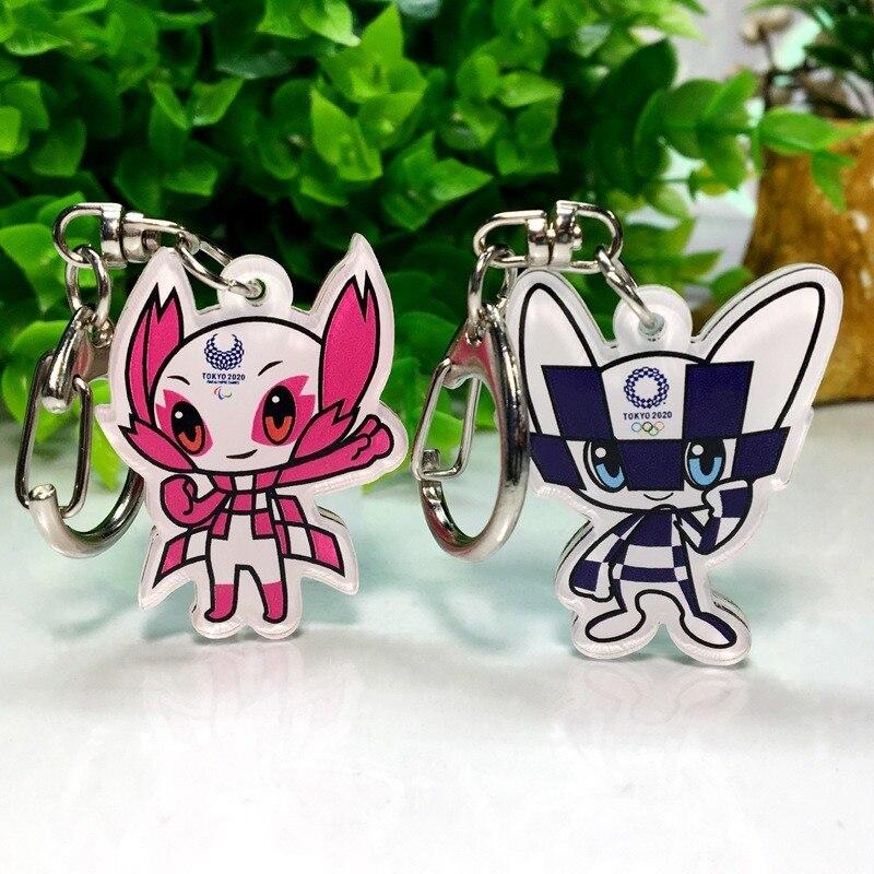 Anime Keychain 2020 Japan Olympics Souvenir Acrylic Keychain Car Key Chains Pendant Someity Miraitowa Custom Gift Keychain