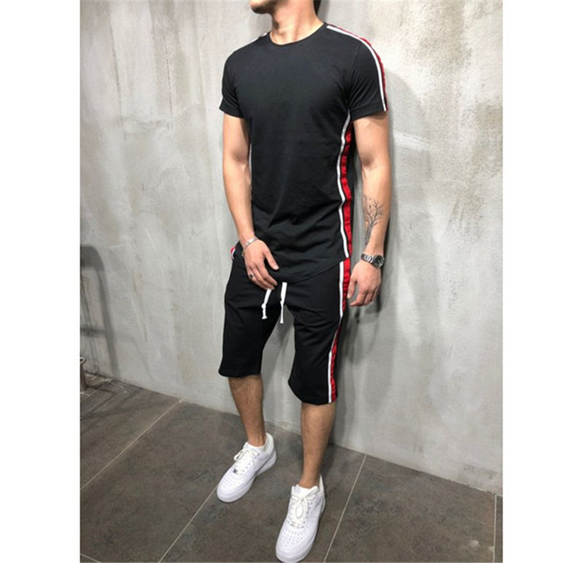 2020 Summer Men Casual Outfits Short Sleeve O-Neck T-Shirt Tops High Waist Pants Outfits Men Jogging Outfit Training Clothes Set